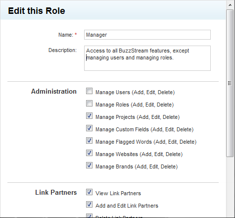 Roles-Based Management in BuzzStream
